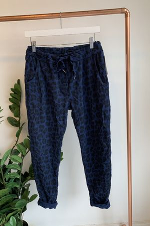 Made In Italy Lounge Leopard Joggers Navy