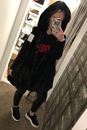 Faux Fur Hooded Gilet Black