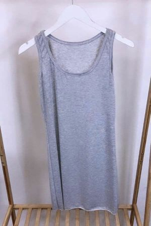 Made In Italy Long Basic Layering Vest Grey Marl