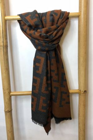 Fenwick Cashmere Scarf Tan and Charcoal