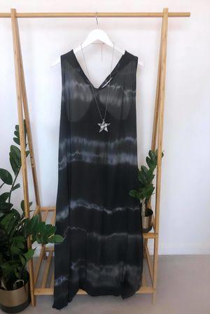 Knot Back Storm Maxi Sun Dress Graphite