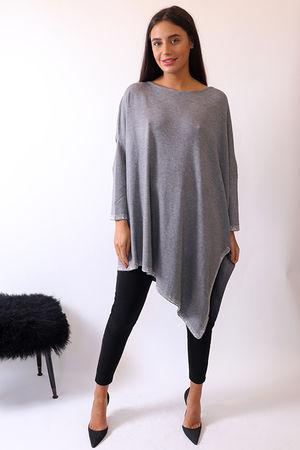 Malissa J Bling Trim Asymmetric Knit Marl Grey