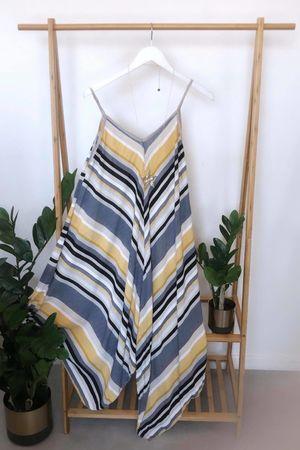 Mixed Stripe Handkerchief Dress Nude