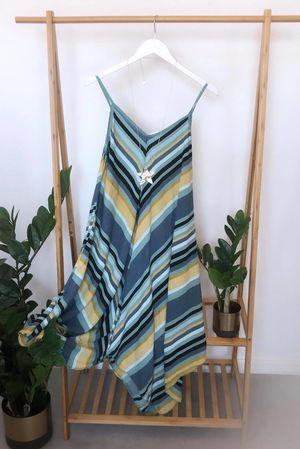 Mixed Stripe Handkerchief Dress Ocean