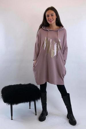 Golden Heart Oversized Hoody - Dirty Rose