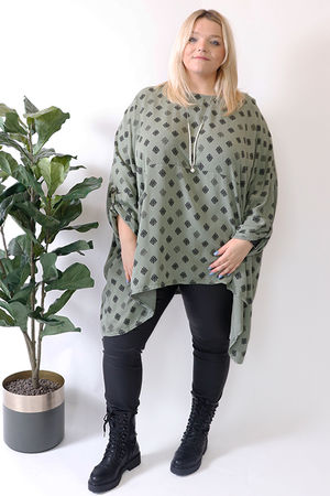 Oversized Two Pocket Print Tunic Khaki