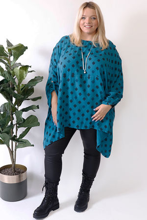 Oversized Two Pocket Print Tunic Peacock