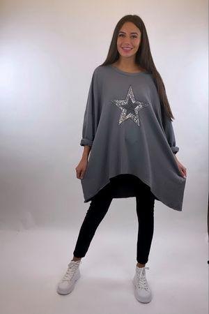 Oversized Star Slouch - Slate