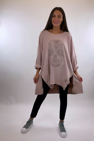 The Skull Longline Zippi Sweat Ballet Blush