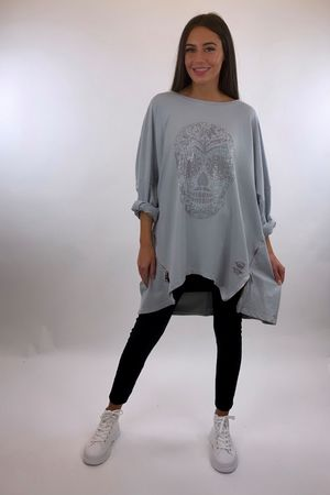 The Skull Longline Zippi Sweat Dove Grey