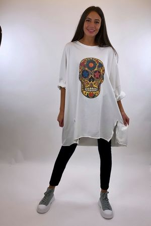 The Sugar Skull Longline Zippi Sweat Winter White