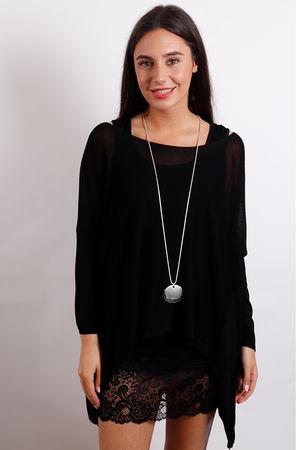 A Line Fine Knit Black