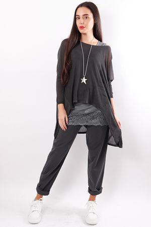A-line Fine Knit Top Graphite