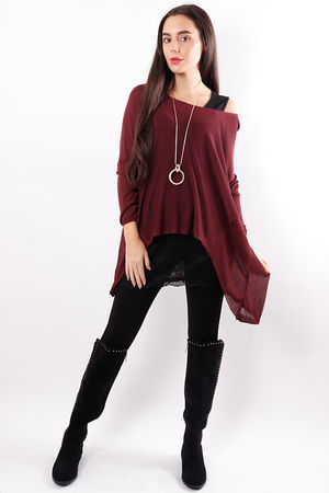 A-line Fine Knit Top Mulberry