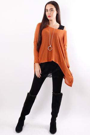 A-line Fine Knit Top Rust