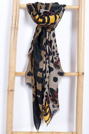 Abstract Animal Scarf Khaki