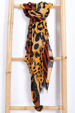 Abstract Animal Scarf Mustard