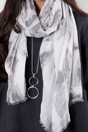 Abstract Floral Pale Grey Scarf