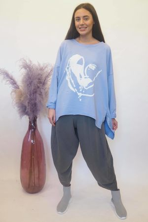 Abstract Heart Hi Lo Sweat Bluebell