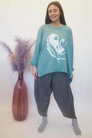 Abstract Heart Hi Lo Sweat Sage