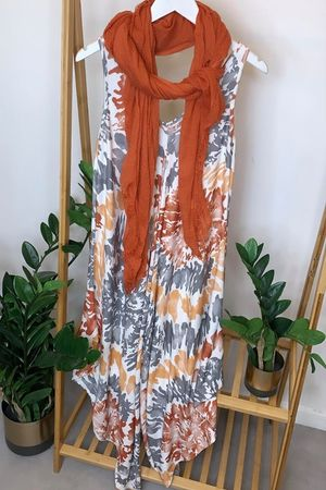 Abstract Parachute Jumpsuit Rusts