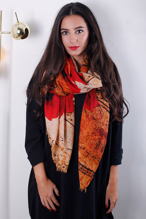 Abstract Poppy Scarf