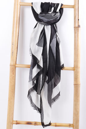 Abstract Print Scarf Black