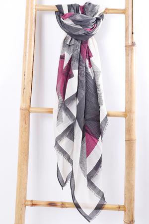 Abstract Print Scarf Grey & Magenta