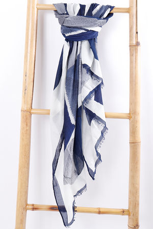 Abstract Print Scarf Navy