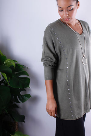 Adia Stud Detail Knit Khaki