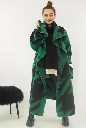 Aint Nothing But A Hound Dog Wool Coatigan Emerald
