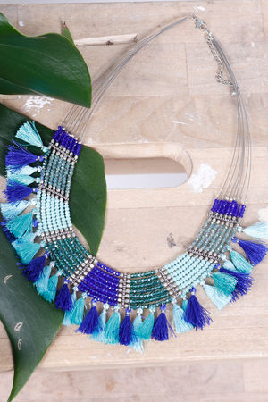 Alex-Max Fringe & Bead Necklace Azure