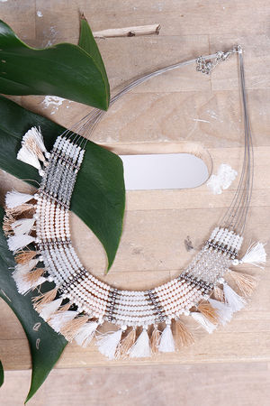 Alex-Max Fringe & Bead Necklace Neutral