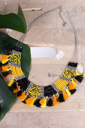 Alex-Max Fringe & Bead Necklace Yellow