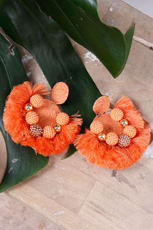Alex-Max Fringe Earrings Orange