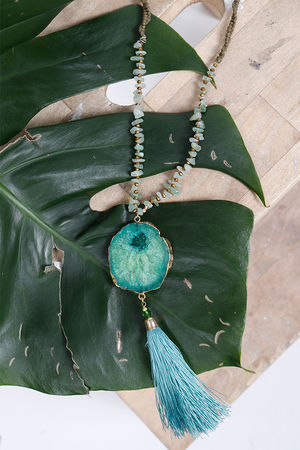 Alex-Max Stone & Tassel Necklace