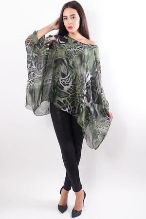 Aminal Print Silk Top Green