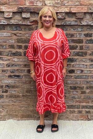 The Ammonite Print Kaftan Dress Red