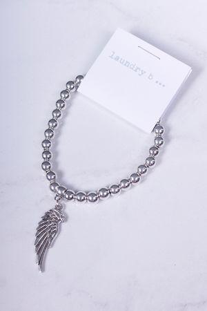 Angel Wing Beaded Bracelet Silver