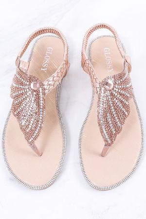 Angel Wing Diamanté Sandal Rose Gold