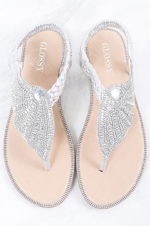 Angel Wing Diamanté Sandal Silver