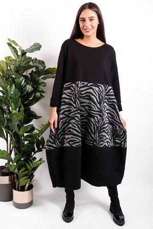 Animal & Boucle Cocoon Dress Black