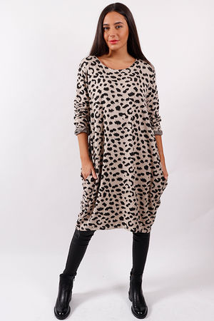 Made In Italy Animal Cocoon Tunic Nude