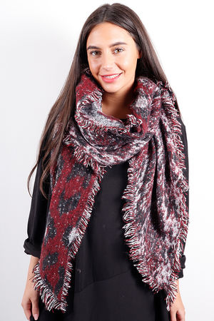 Animal Cowl Scarf Burgundy