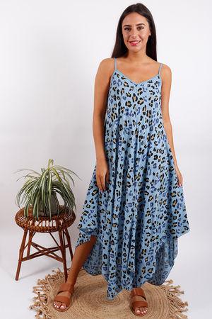 Animal Handkerchief Dress Blue