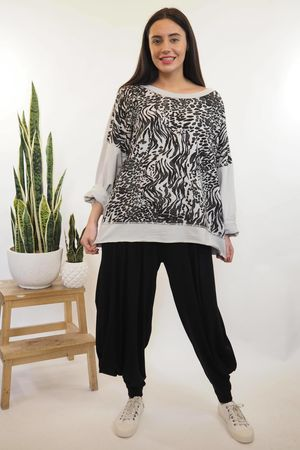Animal Ribby Slouch Sweat Dove