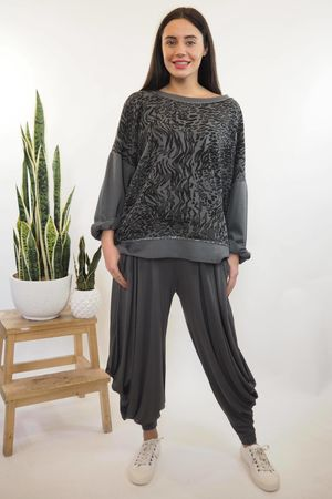 Animal Ribby Slouch Sweat Graphite
