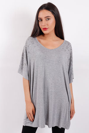 Animal Shoulder Diamanté Stud Top Grey