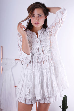 Antica Santoria Embellished Lace Frill Tunic