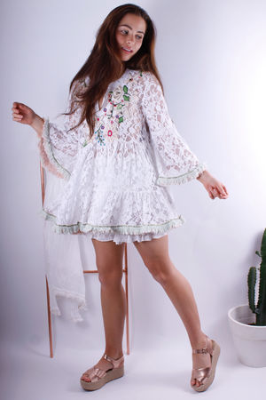 Antica Santoria Embroidery Floral Swing Tunic